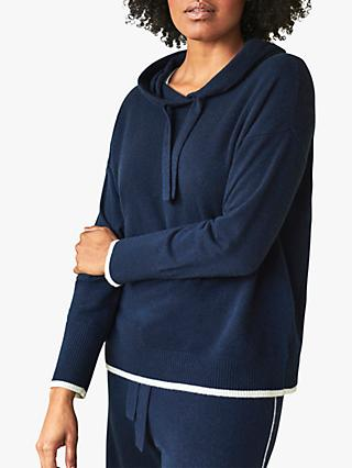 Pure Collection Organic Cashmere Hoodie, Navy