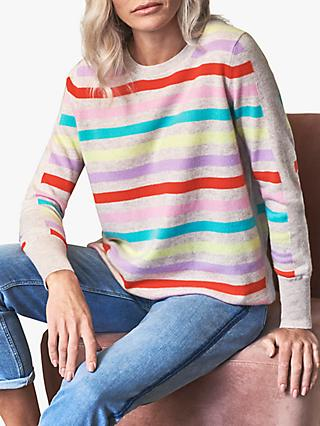Pure Collection Boyfriend Fit Striped Cashmere Jumper, Spring