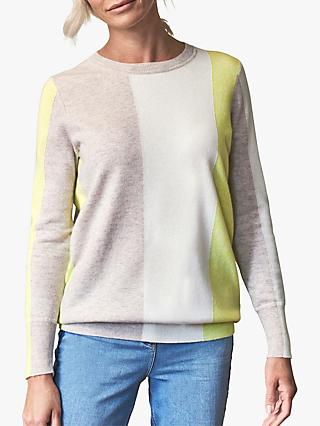 Pure Collection Boyfriend Colour Block Cashmere Jumper, Heather Zest
