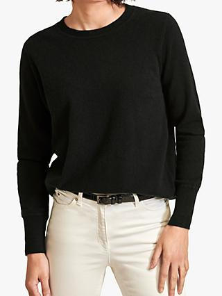 Pure Collection Boyfriend Cashmere Jumper, Black