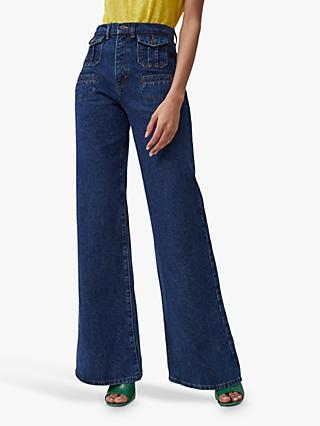 French Connection Riah Recycled Flared Jeans, Indigo