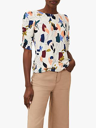 Phase Eight Torrie Abstract Floral Top, Ivory/Multi
