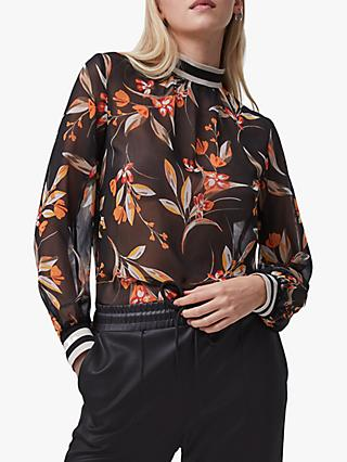 French Connection Eliva Crinkle High Neck Top, Black/Persimmon Orange