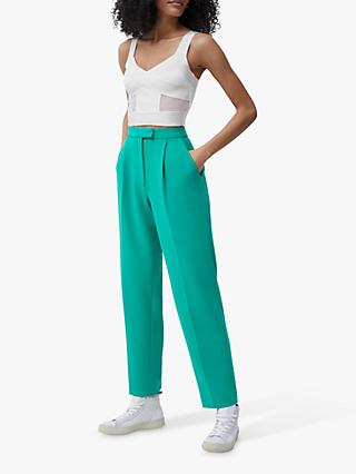 French Connection Tella Wrapped Jersey Crop Top, Summer White