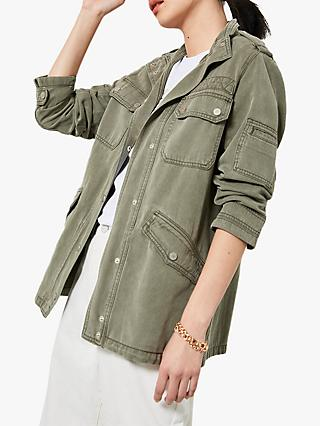 Mint Velvet Washed Jacket, Khaki