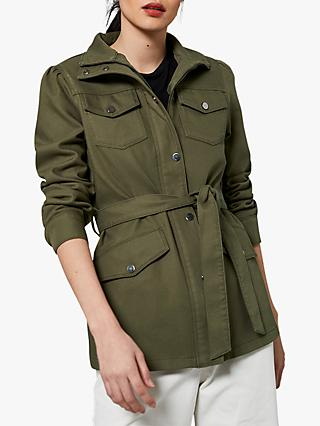 Mint Velvet Cotton Twill Shacket, Khaki