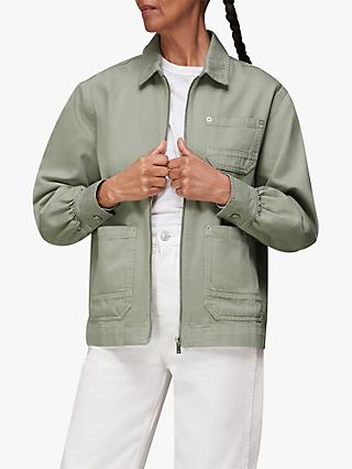 Whistles Zip Cargo Jacket, Pale Green