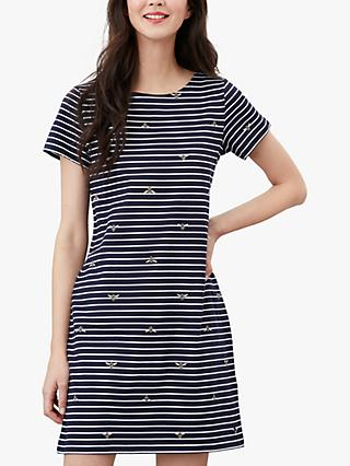 Joules Riviera Striped Bee Print Jersey Dress, Navy