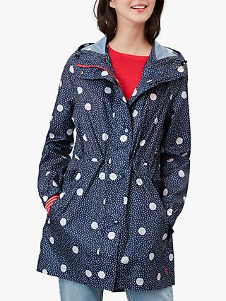 Joules Go Lightly Spotted Waterproof Parka Coat, Navy