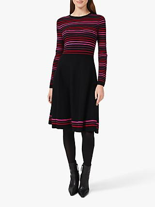 Hobbs Petite Gigi Knitted Dress, Black/Multi