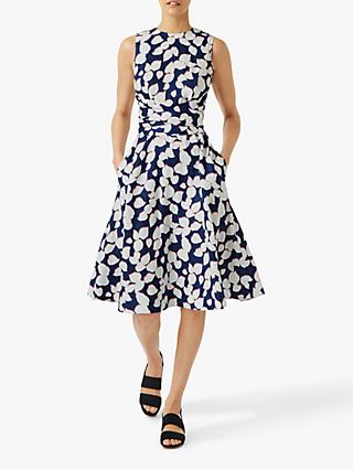 Hobbs Petite Twitchill Floral Linen Dress, French navy/Multi