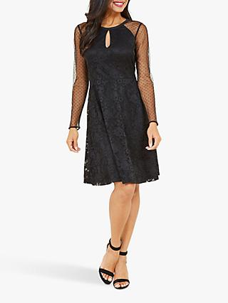 Yumi Lace Sheer Sleeve Dress, Black