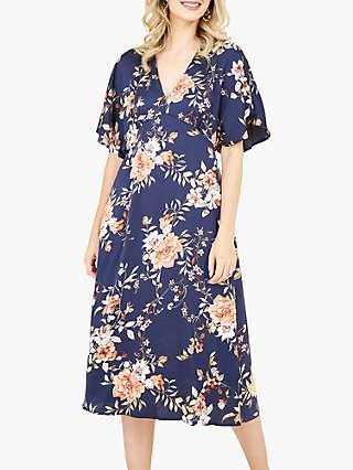 Yumi Floral Kimono Midi Dress, Navy