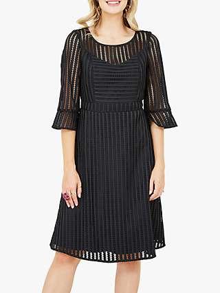 Yumi Fishnet Knee Length Dress, Black