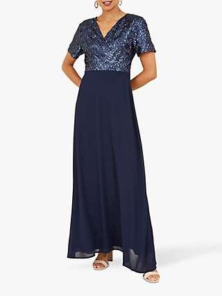 Yumi Sequin Bodice Maxi Dress, Navy