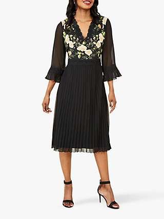 Yumi Floral Pleated Dress, Black