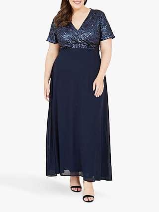 Yumi Curves Sequin Bodice Maxi Dress, Navy