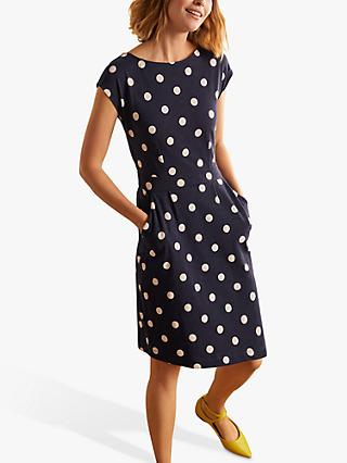 Boden Florrie Dot Print Jersey Dress, Navy