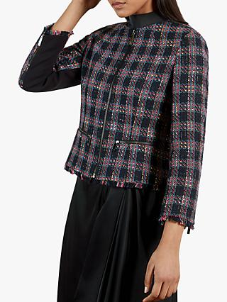 Ted Baker Rosesal Tweed Jacket, Navy/Multi