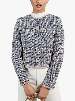 Ted Baker Lozzo Tweed Blazer, Blue/Multi