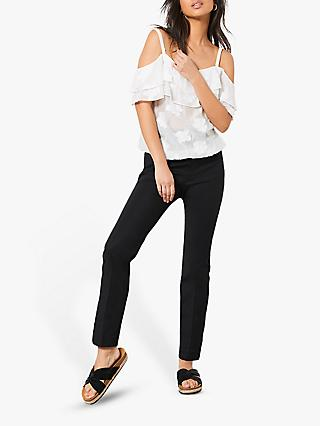 Mint Velvet Popper Trousers, Black
