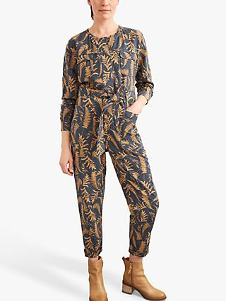 White Stuff Ashley Leaf Print Jumpsuit, Brown/Multi