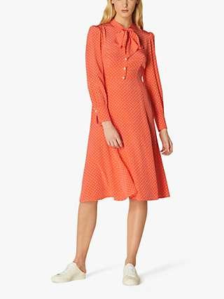 L.K Bennett Mortimer Silk Polka Dot Midi Dress, Pink