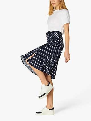 L.K Bennett Mathilde Polka Dot Midi Skirt, Blue/Cream