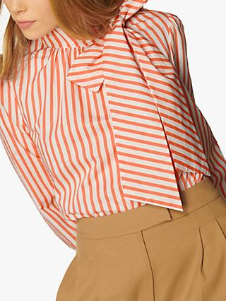 L.K Bennett Ruby Striped Tie Neck Blouse, Salmon