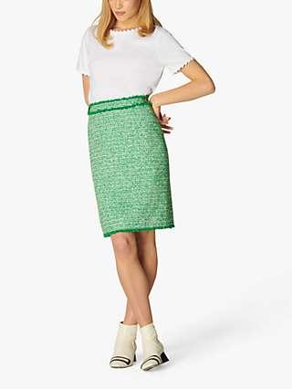 L.K Bennett Nicola Tweed Mini Skirt, Green/White