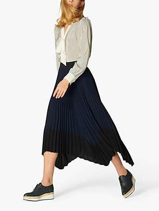 L.K Bennett Koller Dip Hem Pleated Skirt, Black/Navy