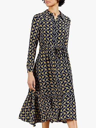 Ted Baker Kwalaa Geometric Print Dress, Navy