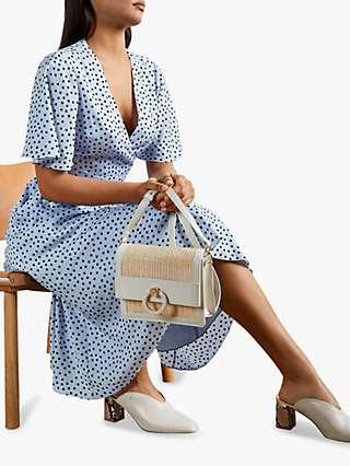 Ted Baker Mabbel Spot Print Peplum Tea Dress, Light Blue