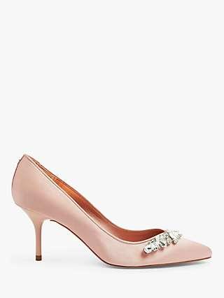 Ted Baker Sparkle Embellished Crystal Mid Heel Court Shoes, Light Pink