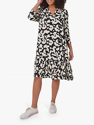 Live Unlimited Monochrome Leaf Dress, Black