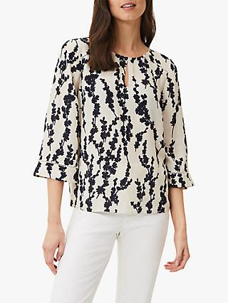 Phase Eight Jean Floral Keyhole Blouse, Navy/White