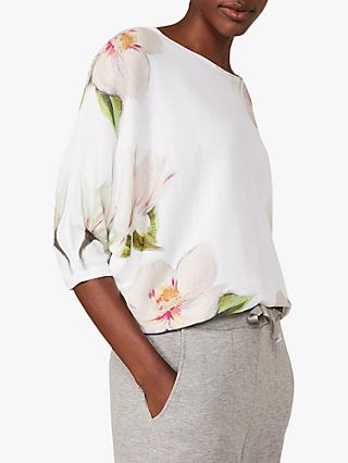 Phase Eight Fenia Floral Print Top, Ivory