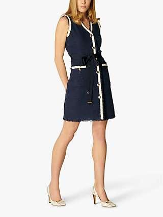L.K.Bennett Pearl Tweed Shift Dress, Blue