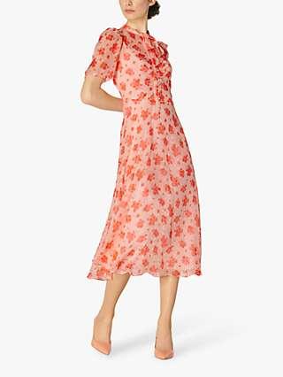 L.K.Bennett Sina Silk Blend Midi Dress, Rose