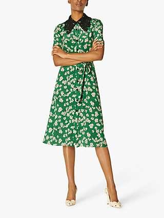 L.K Bennett Haskell Daisy Print Silk Midi Dress, Green