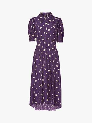 L.K.Bennett Lotta Floral Print Shirt Dress, Mulberry