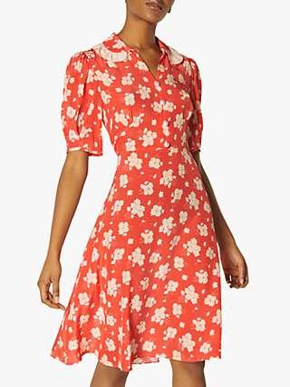 L.K Bennett Roisin Sweet William Print Silk Dress, Coral