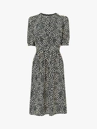 L.K.Bennett Sadie Heart Print Silk Dress, Green/Grey
