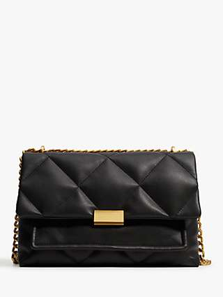 Mango Quilted Chain Cross Body Bag, Black