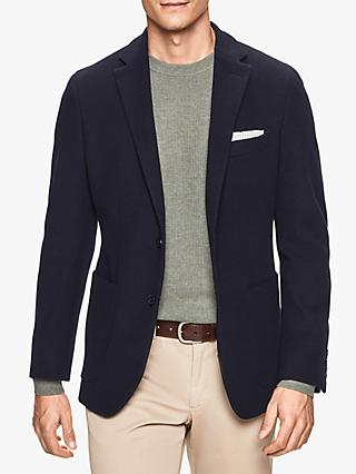 Hackett London Cotton Blend Knitted Blazer, Navy