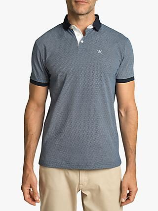 Hackett London Geometric Pattern Regular Fit Polo Shirt, Navy