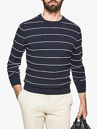 Hackett London Fine Bretton Stripe Crew Neck Jumper, Navy
