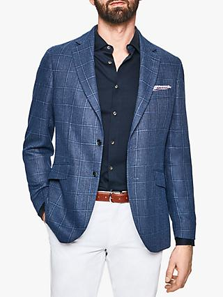 Hackett London Hopsack Check Wool Linen Blend Blazer, Blue