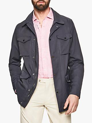 Hackett London Four Pocket Water Resistant Field Jacket, Navy