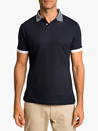 Hackett London Stripe Detail Regular Fit Polo Shirt, Navy